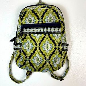 Vera Bradley Navy and Chartreuse Backpack Purse